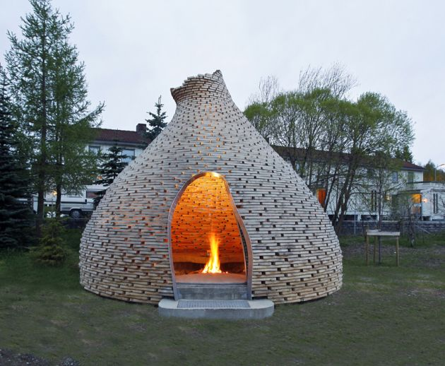 This is the coolest outdoor fireplace ever